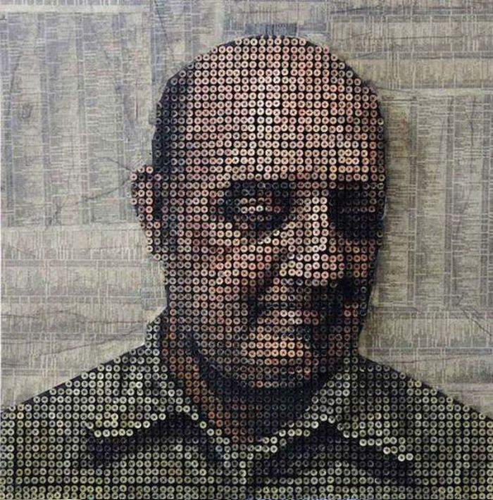 3D Portraits Made out of Screws by Andrew Myers