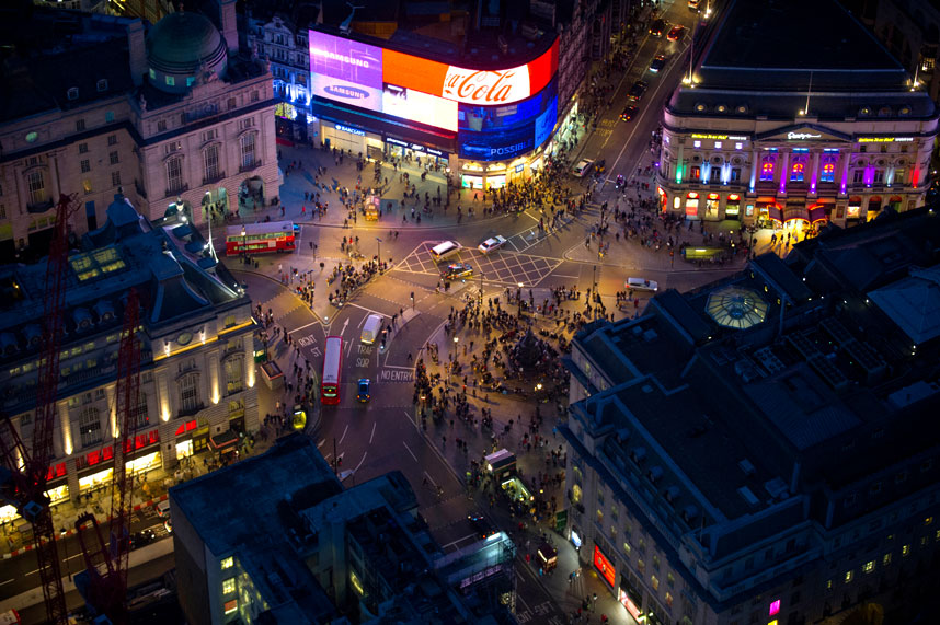 London at night from above