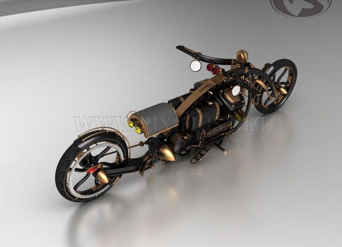 Black Widow Steampunk Chopper Extreme Custom Motorcycle Mod