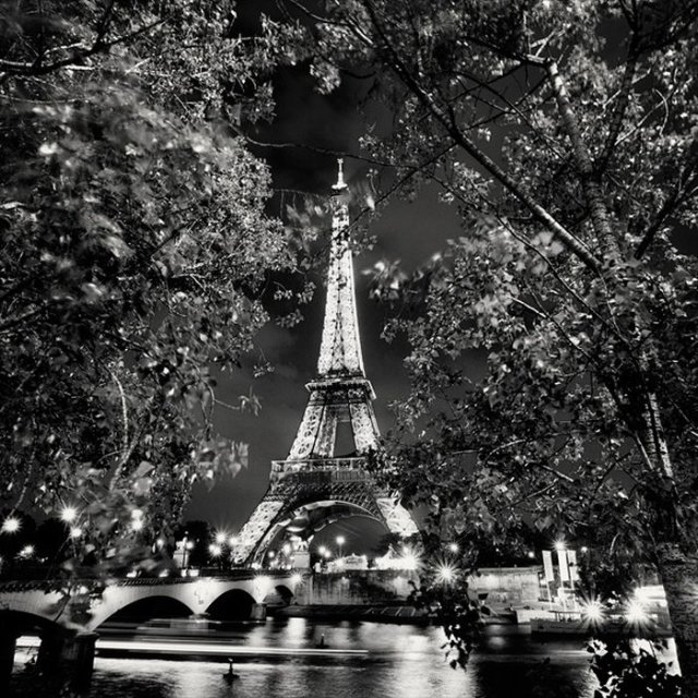 Nightscapes of big cities in black and white