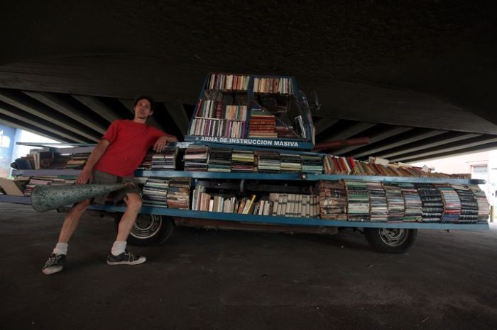 Tank-Shaped Mobile Library Hands Out Free Books