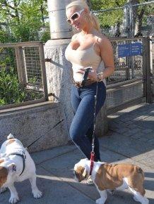 Coco Austin for a walk