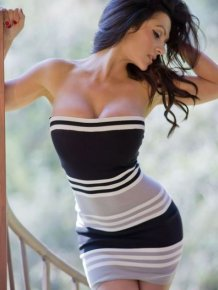 Denise Milani in tight dress