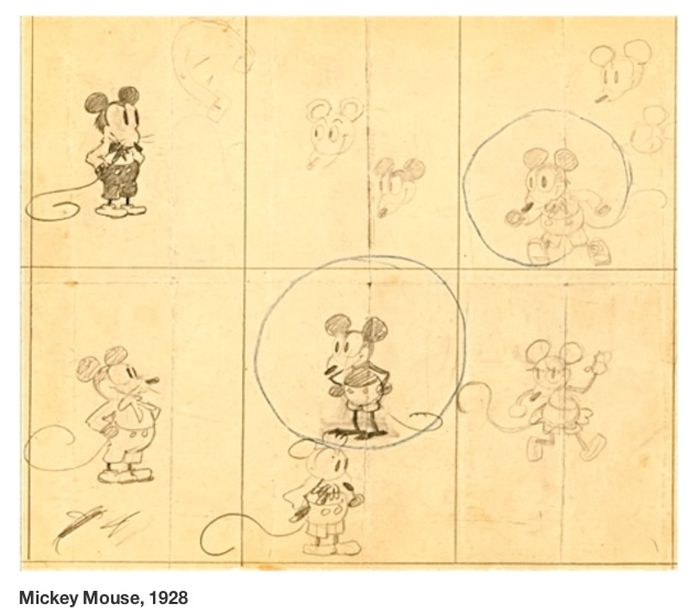 Early Sketches of Famous Cartoon Characters
