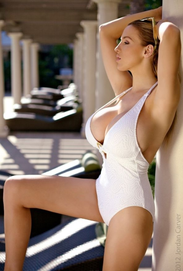 Jordan Carver wearing an old school one-piece bathing suit