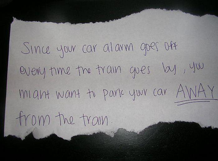 Passive Aggressive Car Alarm Notes