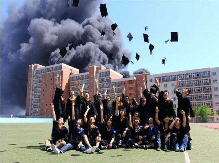 Unusual Backdrop for the Graduation Day Photo