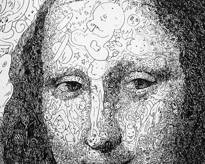 Drawings Made of Thousands of Cartoon Doodles