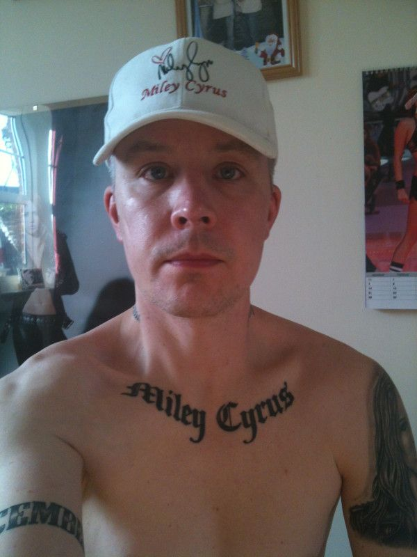 Grown Man With 15 Miley Cyrus Tattoos