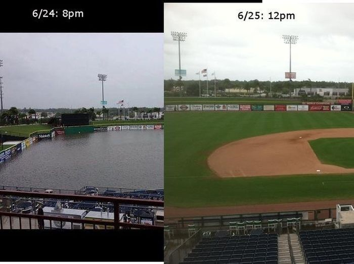 Tropical Storm Debbie Turns Baseball Field Into Swimming Pool
