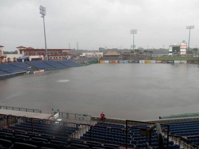 Tropical Storm Debbie Turns Baseball Field Into Swimming Pool