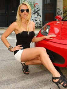 Hot babes with Ferrari