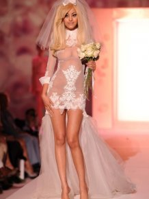 Zahia Dehar in sexy wedding dress