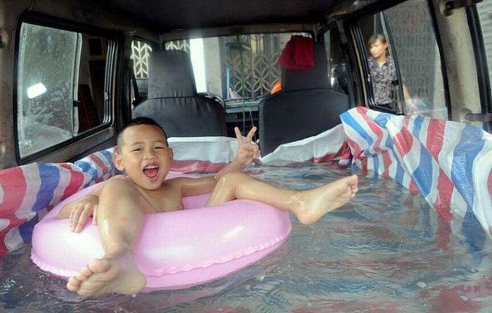 Swimming Pool Inside a Car
