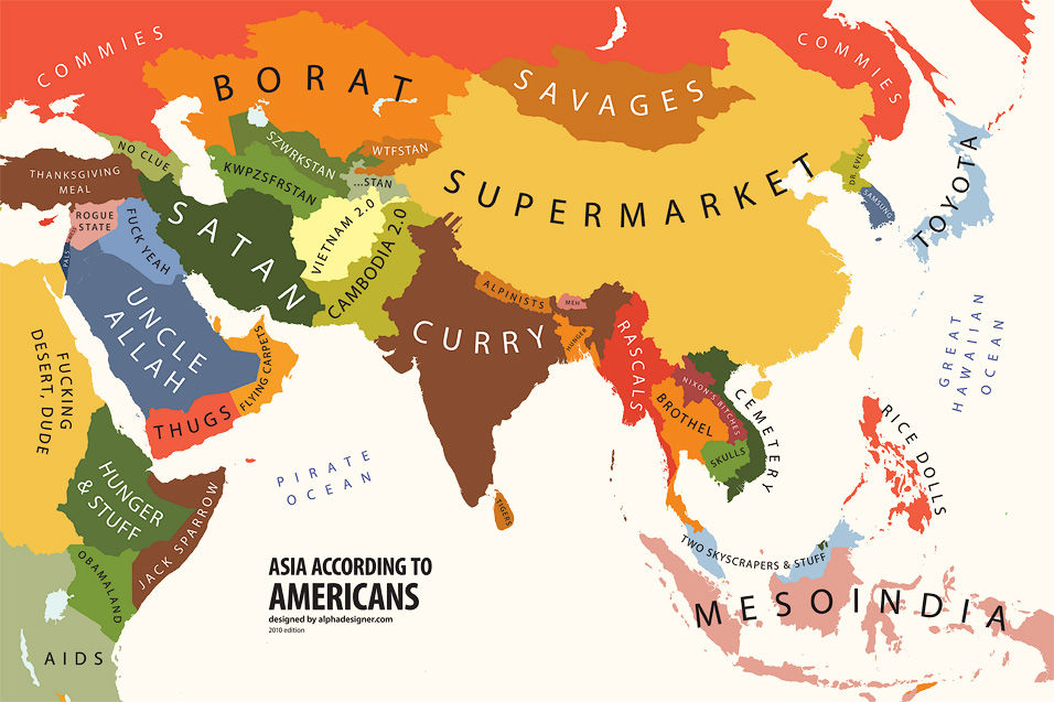maps with funny but familiar stereotypes