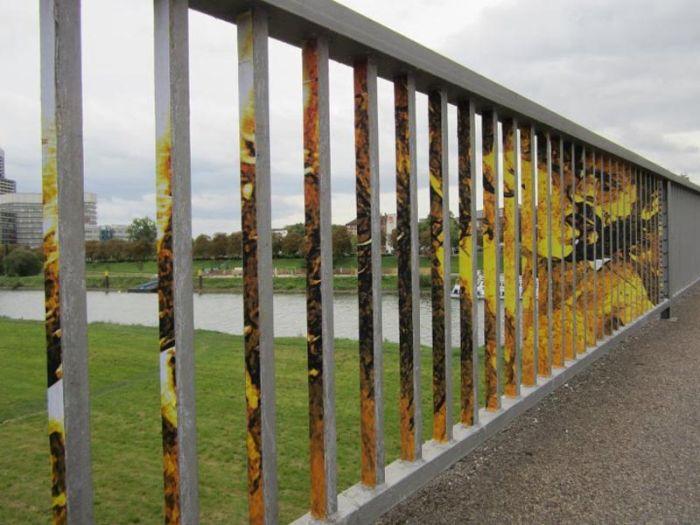 Street Art on Railings by Zebrating