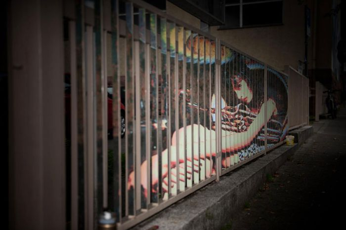 Street Art on Railings by Zebrating