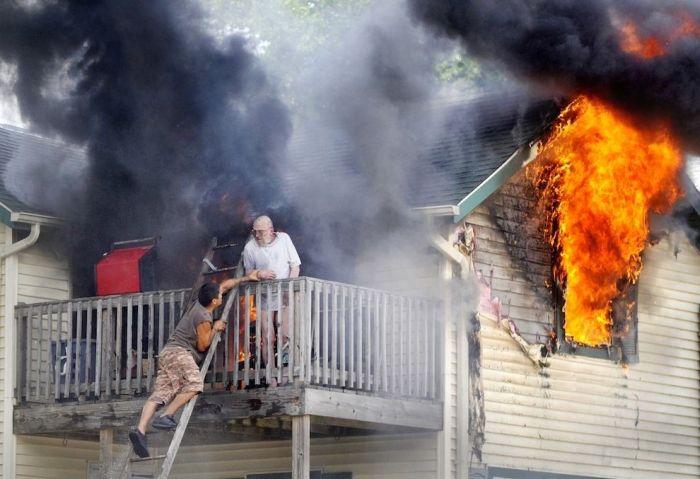 Firemen Rescue a Man