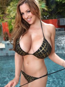 Jordan Carver at the pool