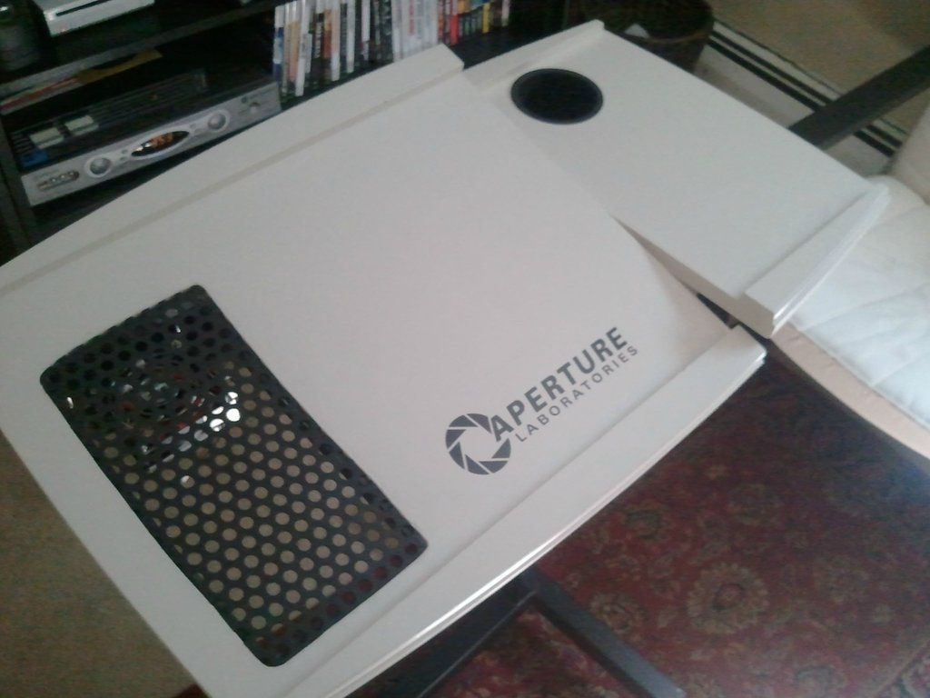 Custom-Made Laptop Table Inspired by Portal Game