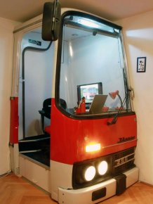 Old Bus Cab Turned into Awesome Working Place