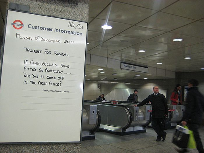 Guerilla Artists Doctoring  Signs on London Transport