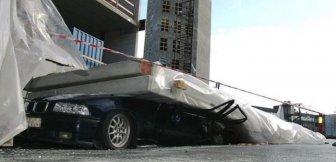 Concrete Wall Falls on a Car