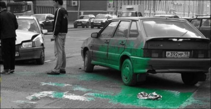 Green Paint Accident