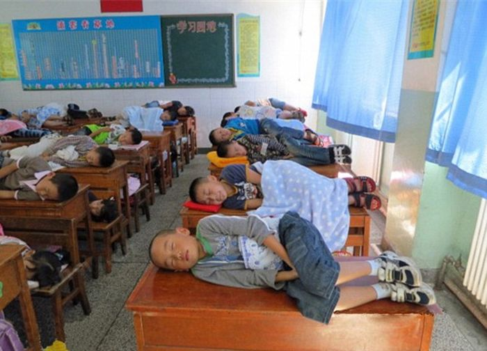 Chinese Kids Taking a Nap at School