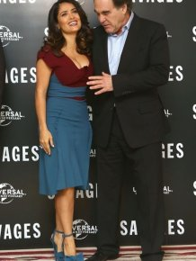 Oliver Stone Grabs Salma Hayek's Boobs