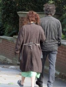 Helena Bonham Carter and Tim Burton in London