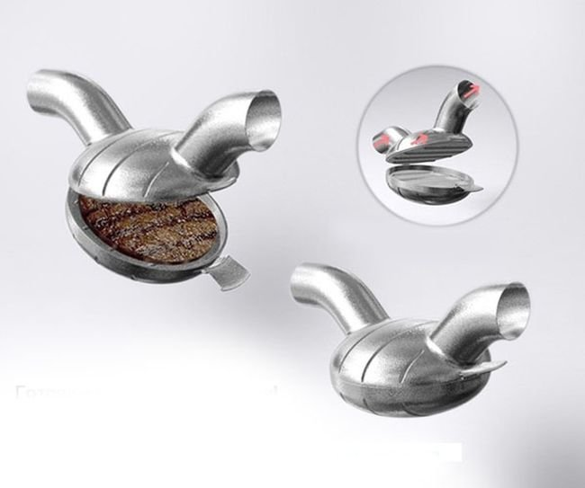 Cooking while Driving. Tailpipe Barbecue Grill