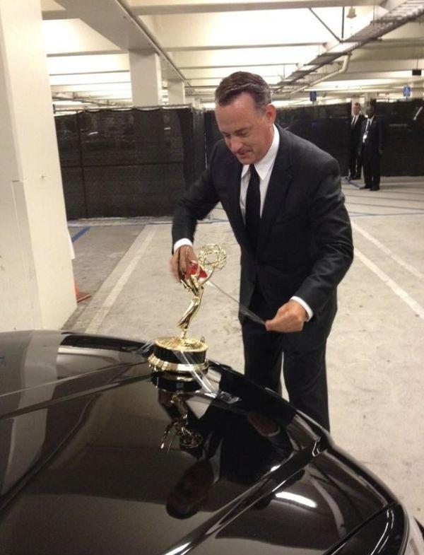 Tom Hanks Uses Emmy as Hood Ornament