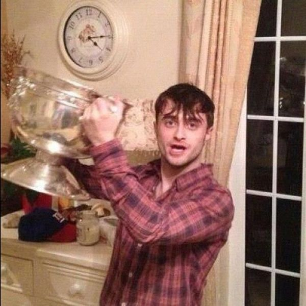 Daniel Radcliffe Parties with a Soccer Team