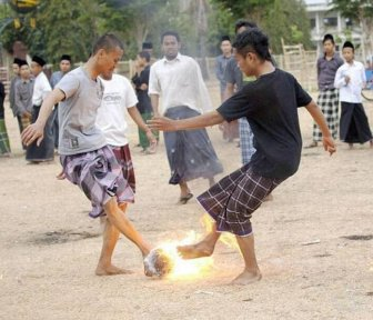 Flaming Soccer in Indonesia