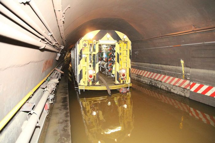 Flooded NYC Subway Tunnel