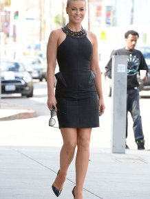 Carmen Electra in tight black dress in Hollywood
