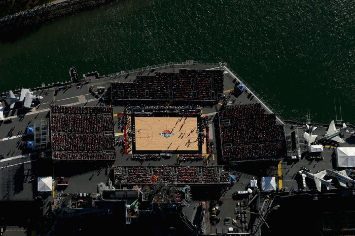 College Basketball Game Played On An Aircraft Carrier