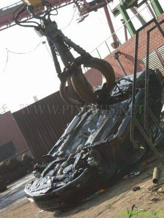 Demolition of Smuggled Cars in Russia