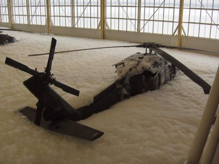 Fire Test Fail. Black Hawks Covered with Foam