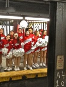 Cheerleaders in NYC Subway