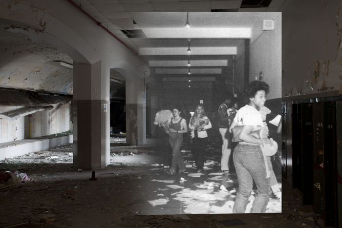 Abandoned Detroit School. Then and Now