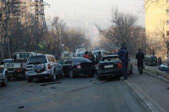 An accident involving 18 cars in Vladivostok