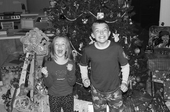 Happy Children On Christmas Morning