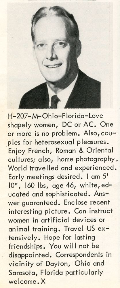 Men's Personal Ads from the 60's