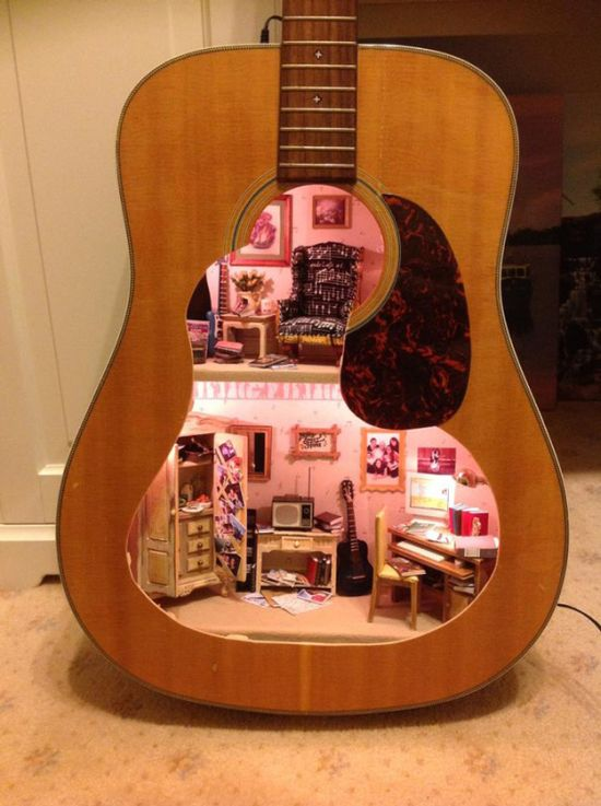 Dollhouse Built Inside of a Guitar