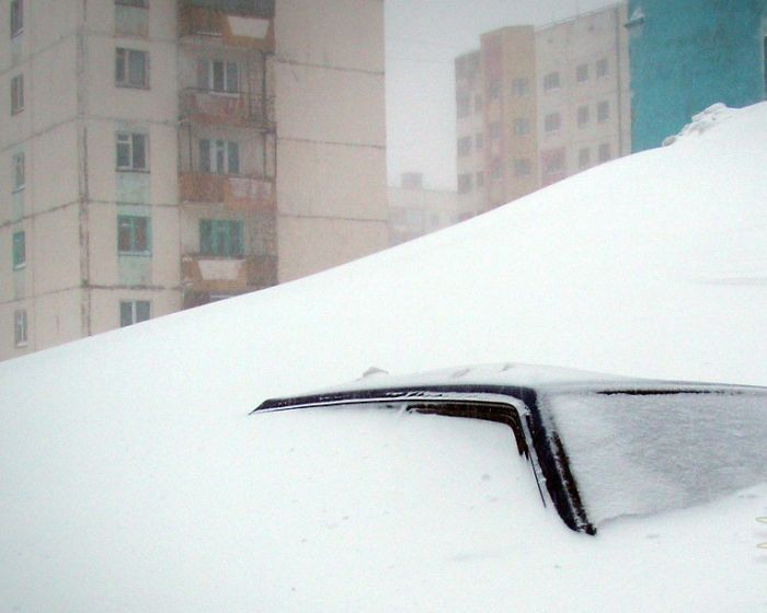 The harsh winter in Norilsk, Russia