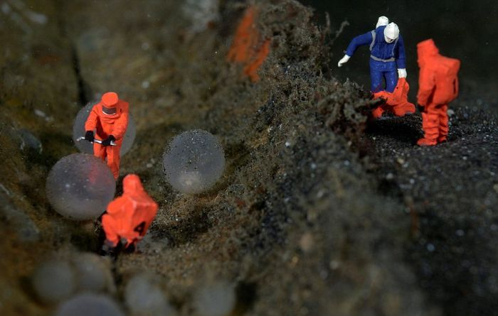 Toy Figures in Underwater Scenes