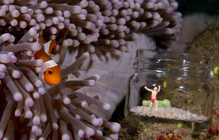 Toy Figures in Underwater Scenes