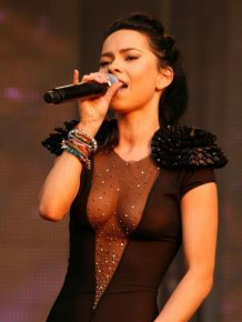 Inna in a see-through dress